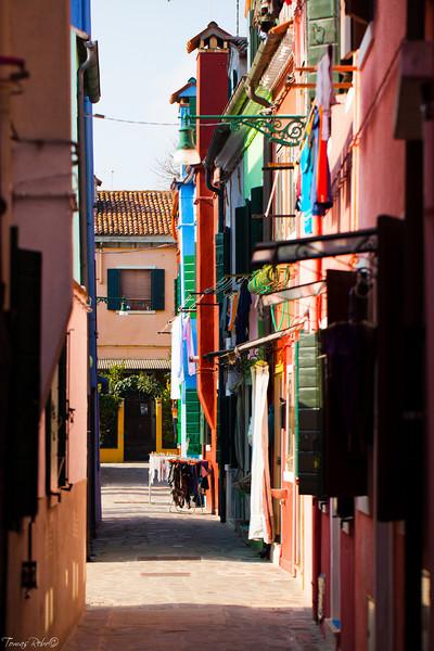 Clolourfull streetof Burano,  Venice, Italy