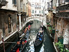 Gondolas on small side canal, Venice