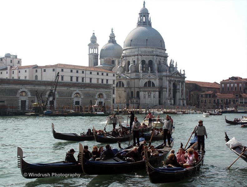 Gondolas on Grand Canal, Church of Santa Maria della Salute, Venice