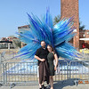 Sonia and Paul with the beautiful glass sculpture in Murano
