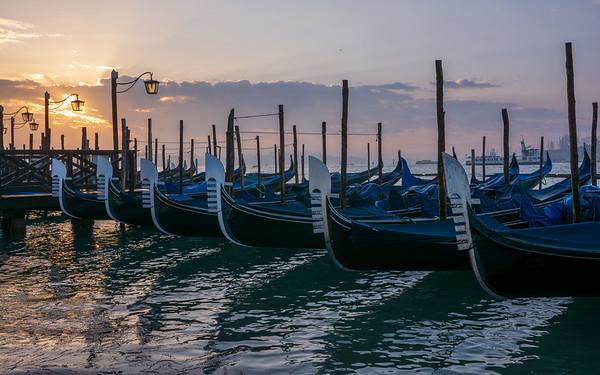 Gondolas as sunrise - Veniuce, Italy