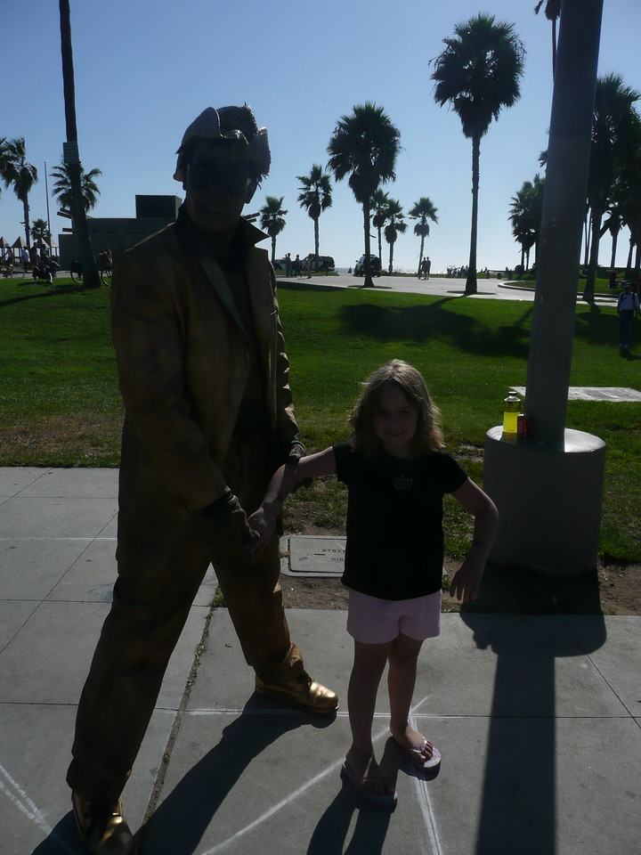 Lauren with the Golden Guy. He kind of scared the hell out of her when he moved.