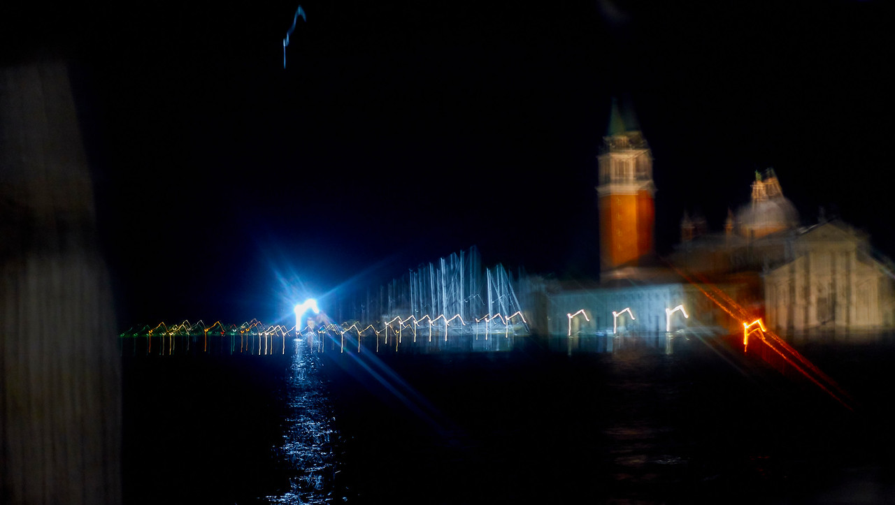 San Giorgio and its harbour at night...