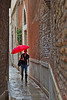 Woman with red umbrella, Venice, Italy