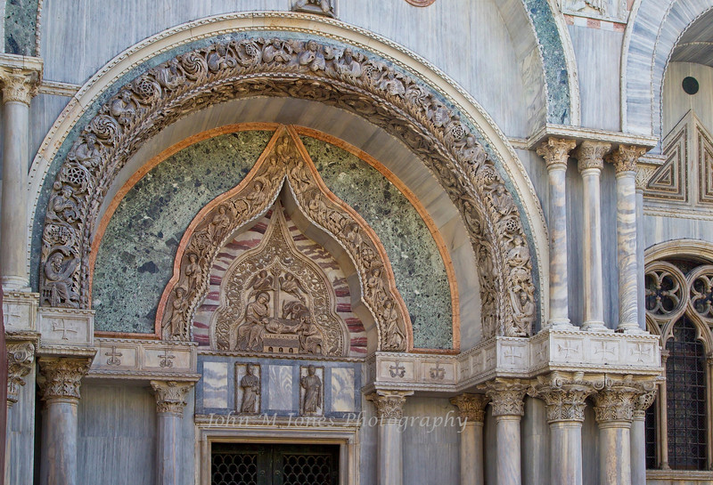 Archway details of Basilica di San Marco or St. Mark's Church, Venice, Italy