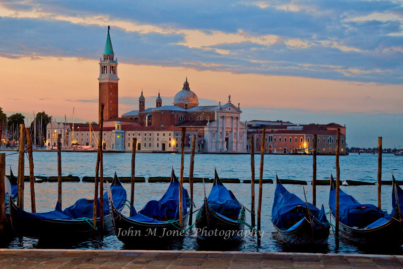 Early morning view of the Church of San Giorgio Maggiore from the waterfront near St. Mark's Square, Venice, Italy