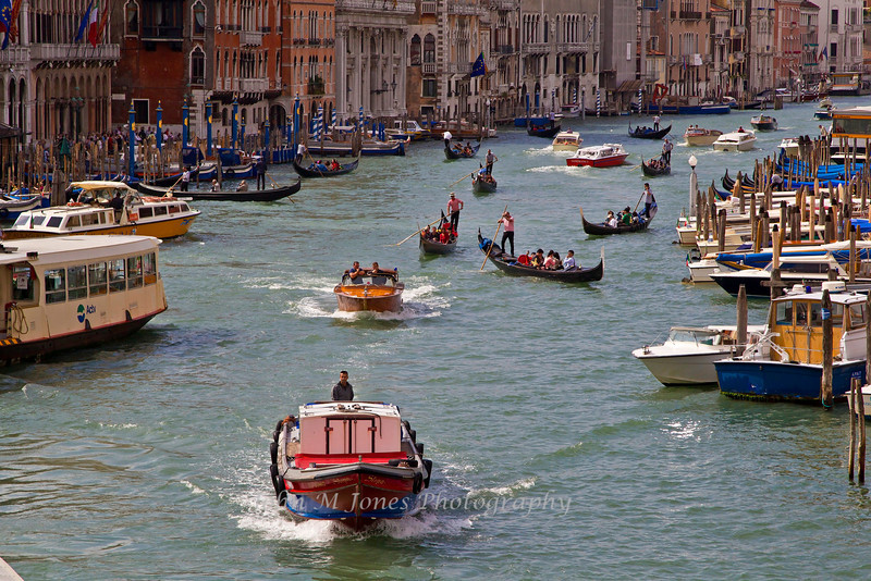 Gondola and boat traffic on Grand Canal, Venice, Italy