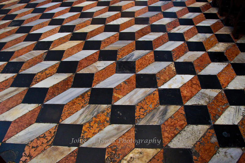 Marble floor at the altar of the Basilica of San Giorgio Maggiore creates an optical illusion, Venice, Italy