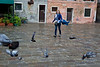 Woman and pigeons, Venice, Italy
