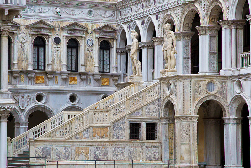 Scala del Giganti, or giant staircase by Sansovino with Statues of Mars and Neptune, Venice, Italy