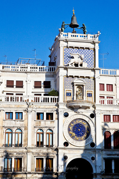 Torre dell'Orologio or St Mark's Clock Tower in Piazza San Marco or St. Mark's Square, Venice, Italy