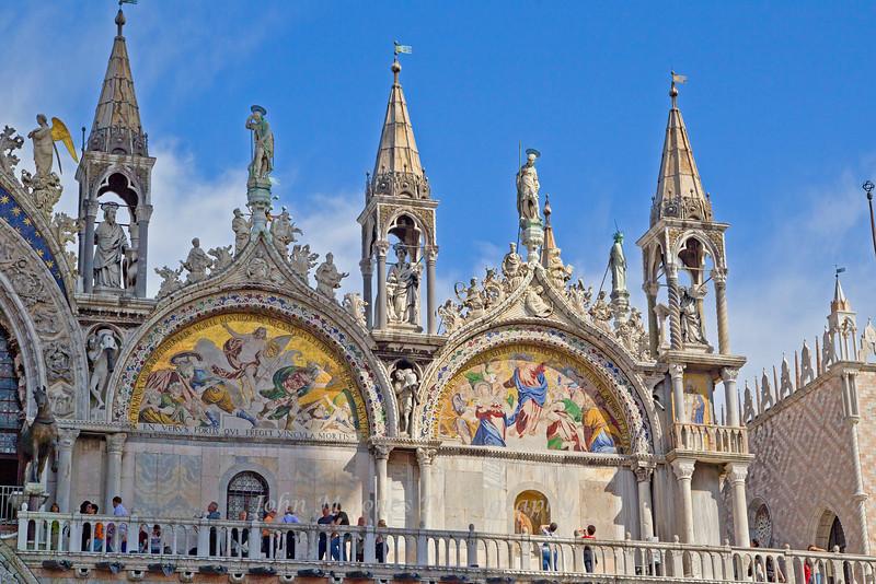 Façade details of Basilica di San Marco or St. Mark's Church, Venice, Italy