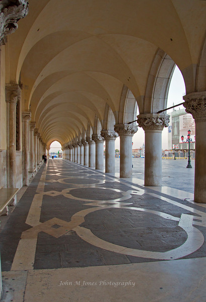 Colonnade of Palazzo Ducale or Doge's Palace, Venice, Italy