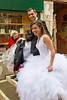 Bride and groom on a rainy day, Venice, Italy