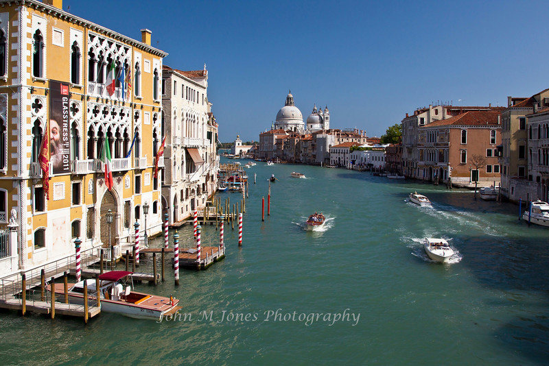 View of the Grand Canal and the Basilica of Santa Maria della Salute from the Accademia Bridge, Venice, Italy