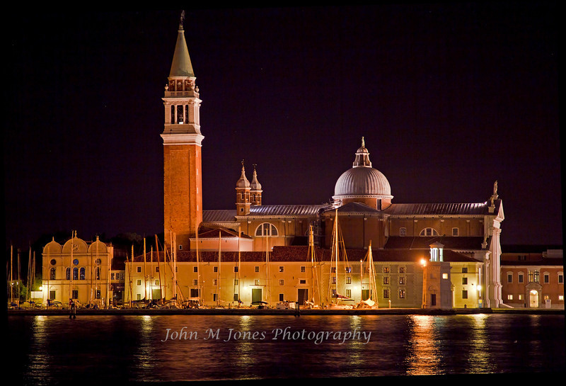 Church of San Giorgio Maggiore at night, Venice, Italy