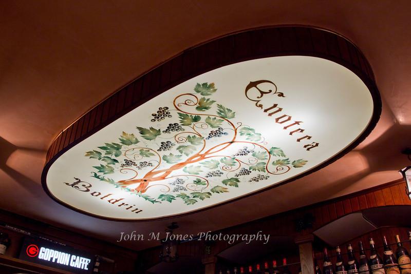 Overhead light in café, Venice, Italy