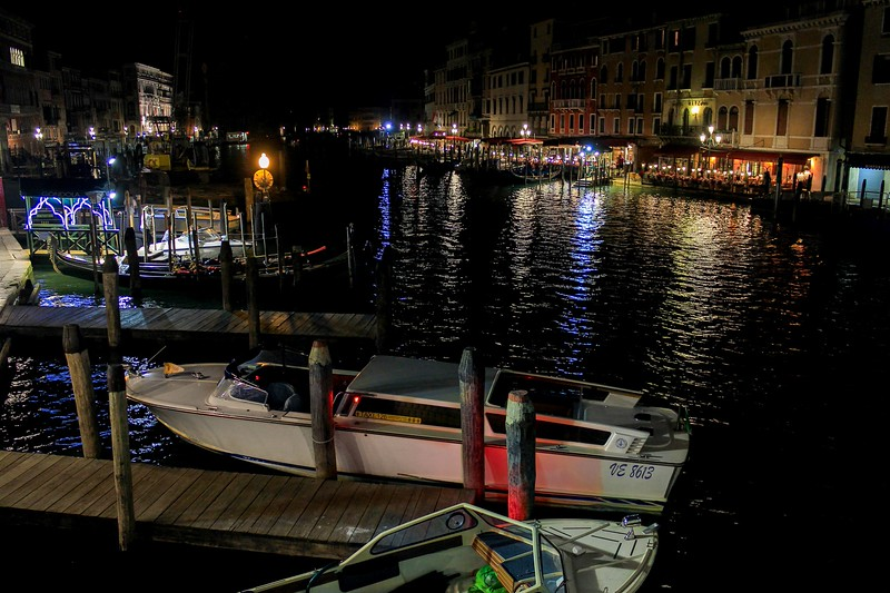 The Grand Canal at night.