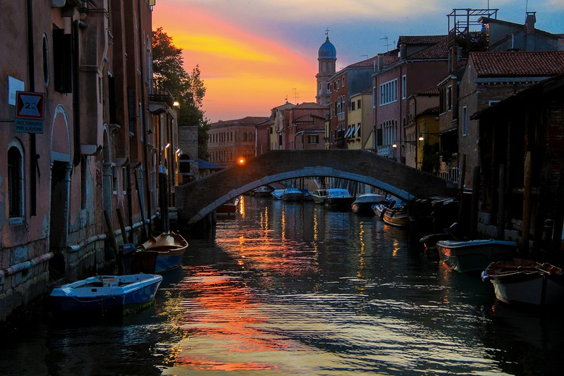 Sunset in Venice on June 4, 2015.