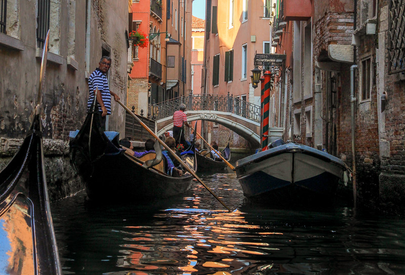Our bus tour took six gondolas out all at once, making for some tight traffic along the way.