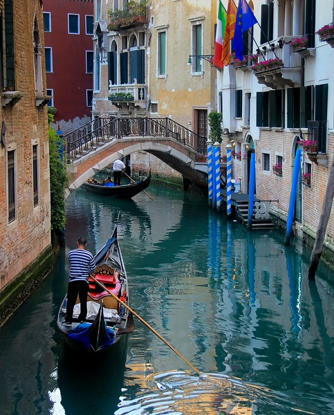 One of the busier canals not far from St. Mark's Square.