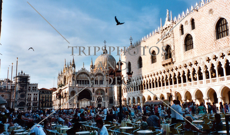 Outdoor restaurant at the St Mark's Square in Venice, Italy.