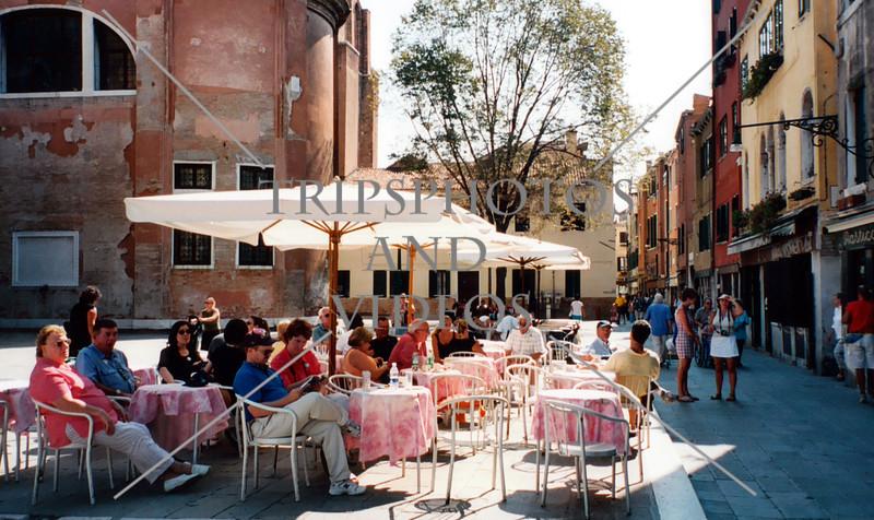 Outdoor restaurant in Venice, Italy.