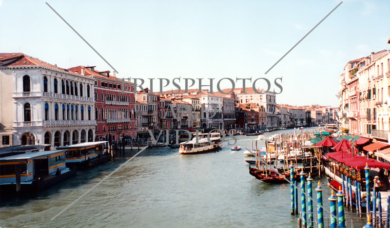 A view of the grand canal in Venice, Italy.
