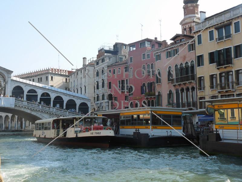 Water bus docking station near the Rialto bridge in Venice, Italy.