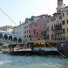 Water bus docking station near the Rialto bridge in Venice, Italy.