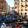 Gondola boats and passenger loading dock in Venice, Italy.