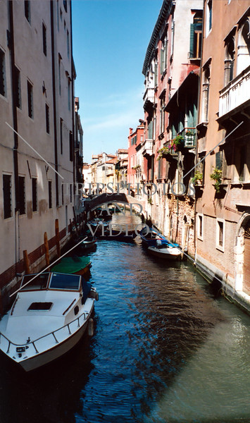A view of the canal in Venice, Italy.