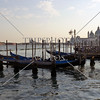 Gondolas at the dock in Venice, Italy.