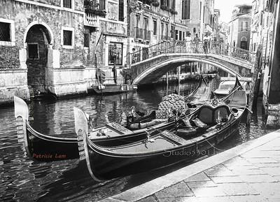 Cat on Gondola in Venice Italy waterway in B&W