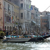 The Grand Canal buildings and boats in Venice, Italy.