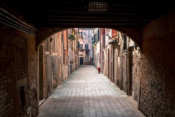 Venetian narrow streets, somewhere in Venice, Italy