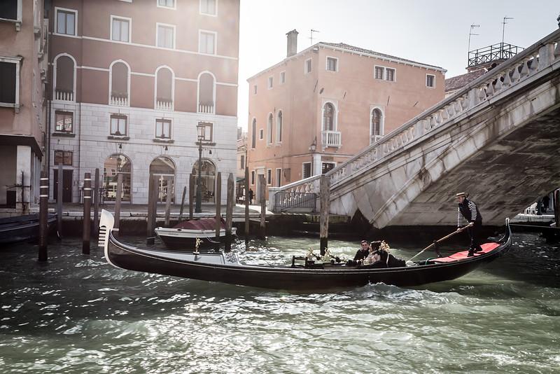 Gondola in Venice during carnival in 2014, Venice, Italy