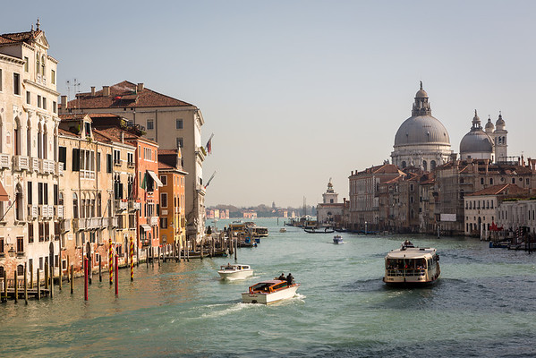 Grand canal with Basilica di Santa Maria della Salute in the background, Venice, Italy