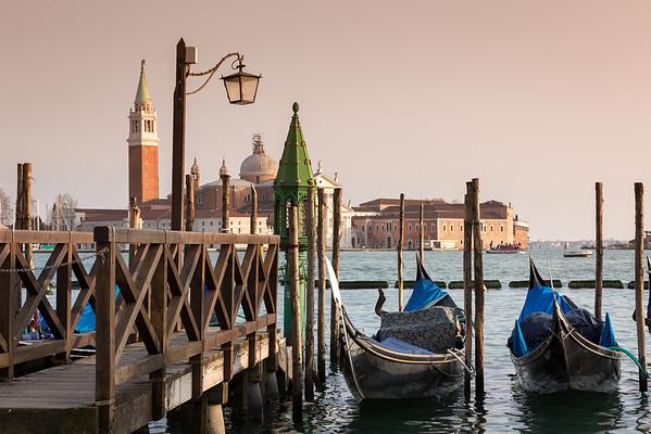 Sunset view on San Giorgio Maggiore from square San Marco, Venice, Italy