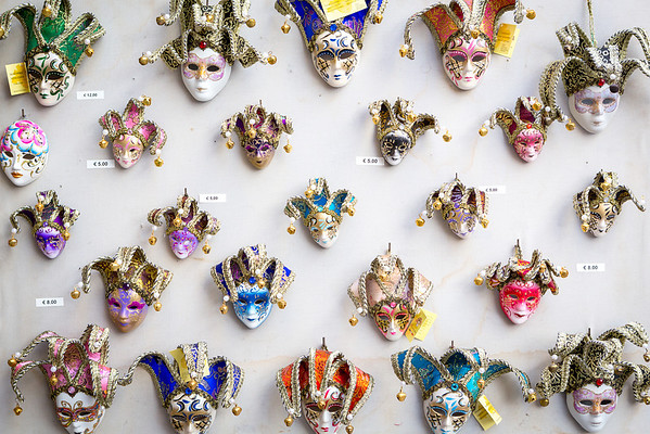 Venetian clown masks in miniatures waits for tourists, Venice, Italy