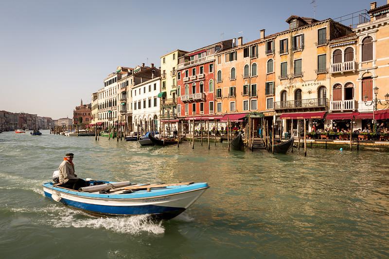 Very famous place near bridge Rialto on Grand canal, Venice, Italy