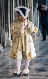 Candid photo from venetian carnival 2014, Venice, Italy