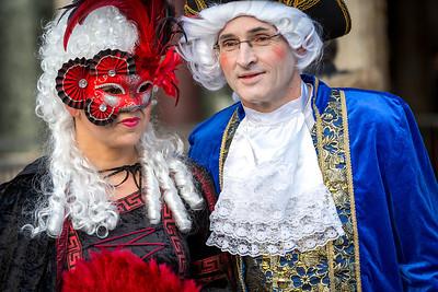 Couple in masks on Venetian carnival 2014, Venice, Italy
