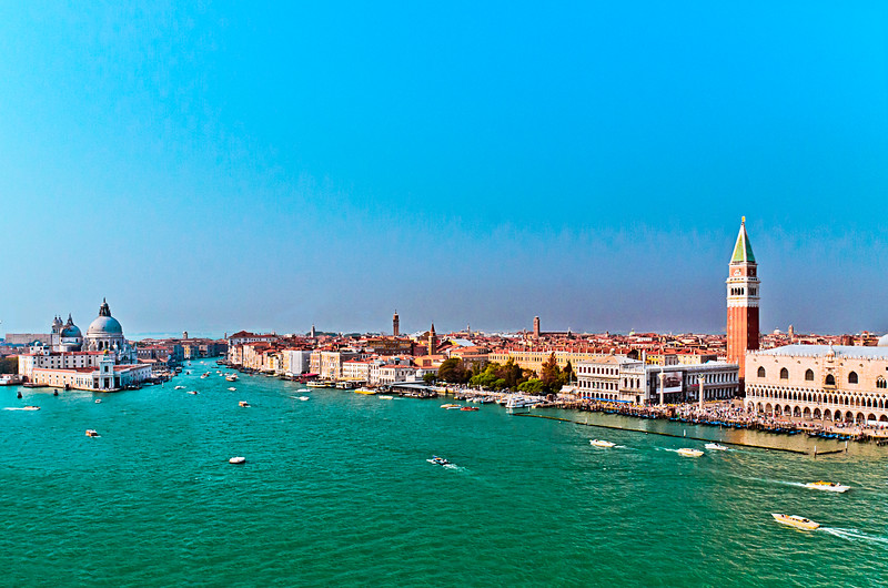 Venice, Italy - The entrance into the Grand Canal with Saint Mark's Square on the right.