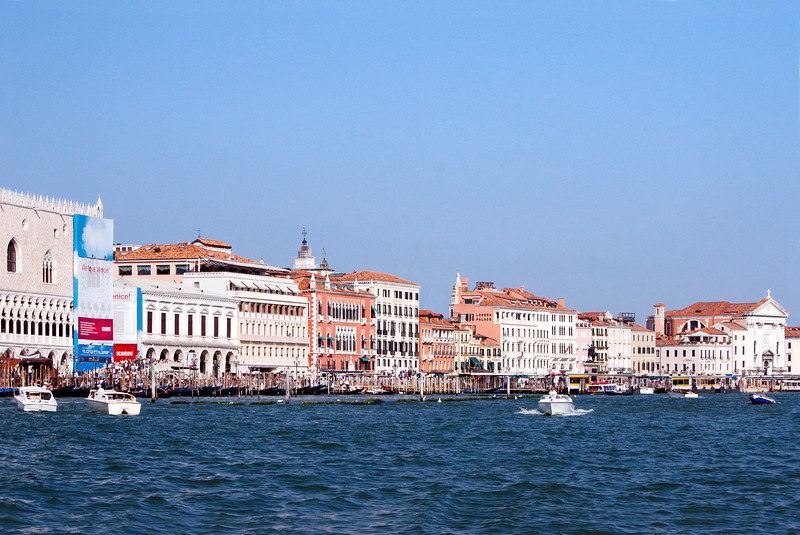 Venice, Italy - Facing the beginning of Saint Mark's Square from the main Canal, with the Doge's Palace on the far left.