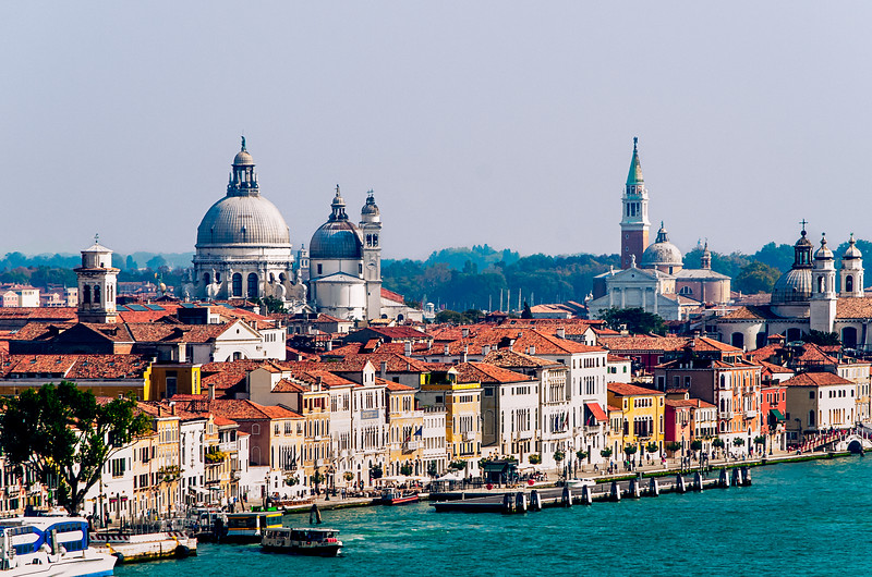 Venice, Italy - Sailing along the Dorsoduro District looking back toward St Mark's Square and the Church of the Virgin Mary of Good Health.