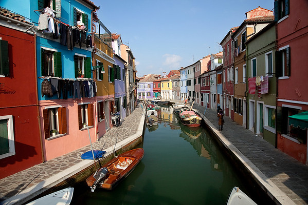 Channels of Burano island, Venice, Italy