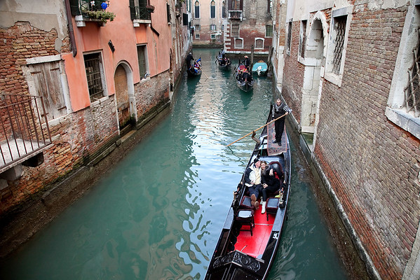 Channels with gondolas, Venice, Italy