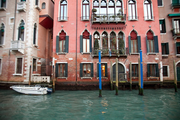 Old buildings in Venice from vaporetto cruise, Venice, Italy