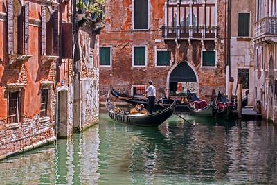Gondolas in Venice canal